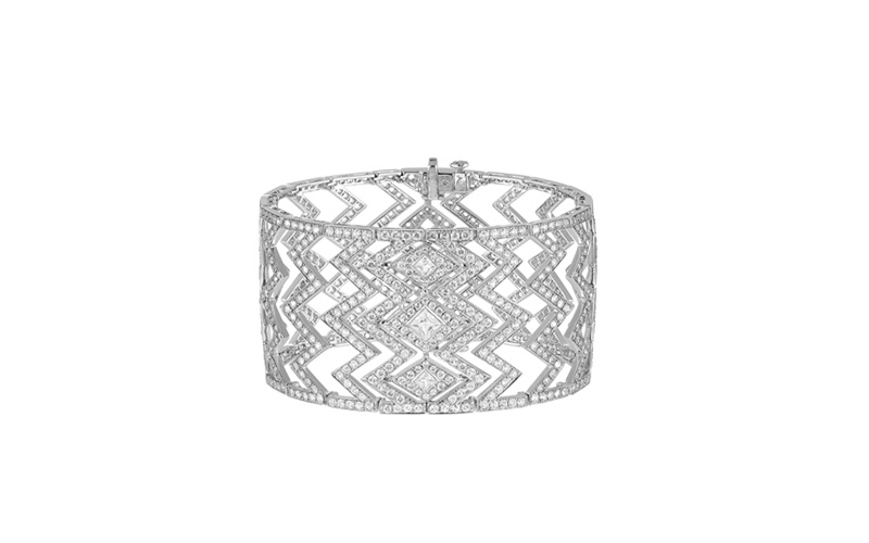 Lady Stardust Large Bracelet in White Gold and White Diamonds