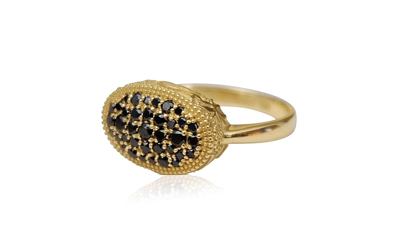 'Little Luca' 18 Carat Yellow Gold & Black Diamond Ring