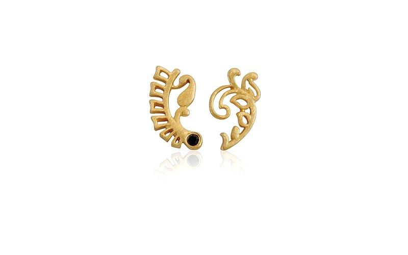 'Little Luca' 18 Carat Yellow Gold and Black Diamond Fern Earrings