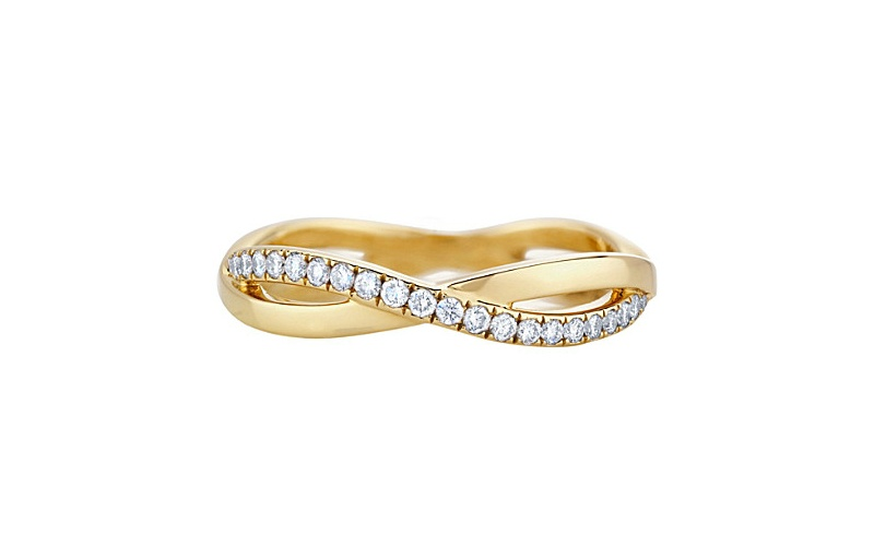 INFINITY YELLOW GOLD AND PAVE DIAMOND RING