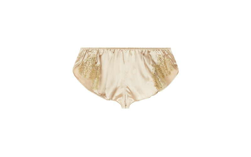 GINA ALMOND SILK AND GOLD LACE TAP PANT