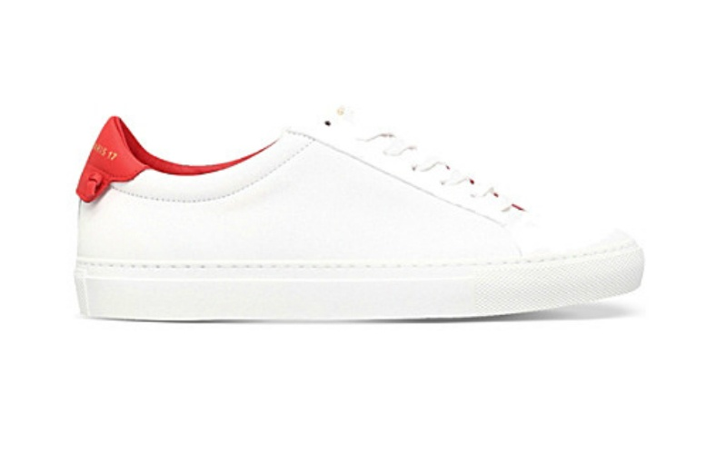 Knot-detail leather trainers red