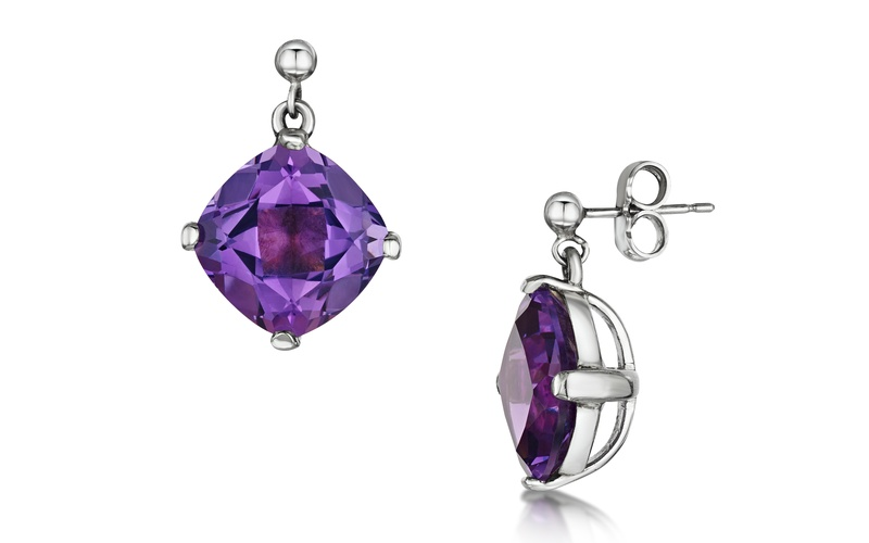 PAIR OF AMETHYST AND 18 CARAT WHITE GOLD DROP EARRINGS