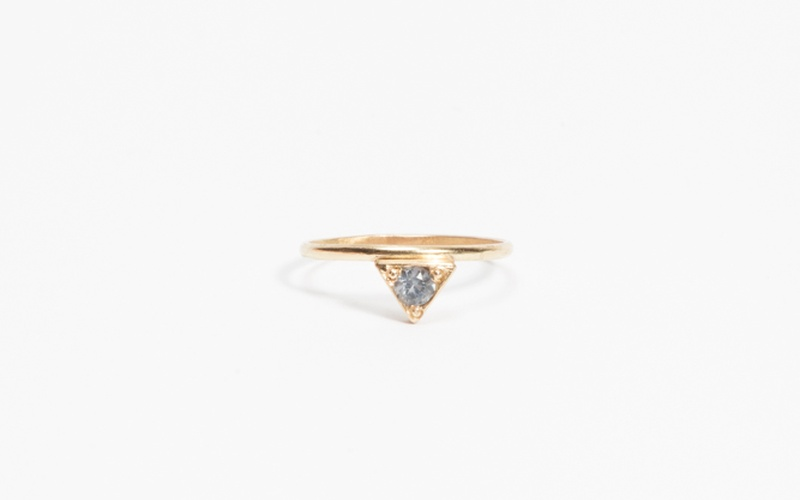 GOOD KARMA COLLECTION TRIANGLE RING BLUE GREEN