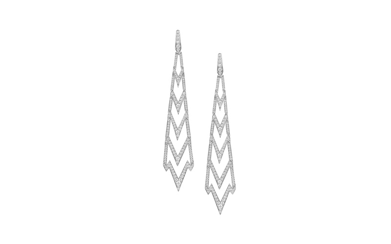 Lady Stardust Long Earrings in White Gold and White Diamonds