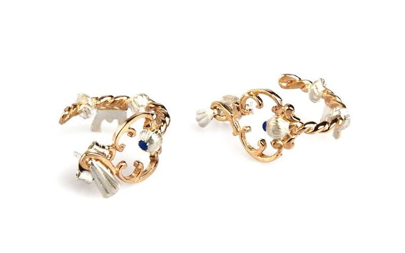 Key Hooped Earrings with Lapis