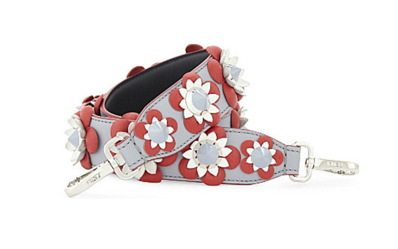 Floral leather bag strap