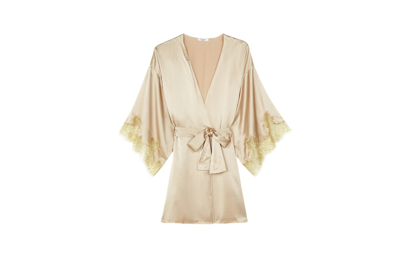 GINA ALMOND SILK AND GOLD LACE KIMONO