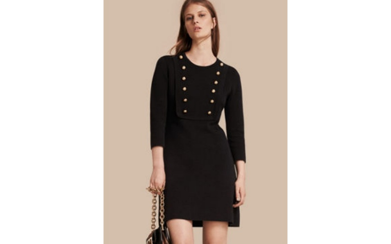 STRETCH SILK-COTTON KNITTED MILITARY DRESS