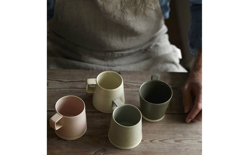 SET OF TWO STONEWARE MUGS