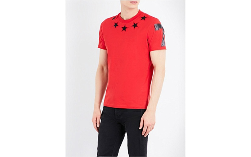 Star appliqué cotton-jersey T-shirt