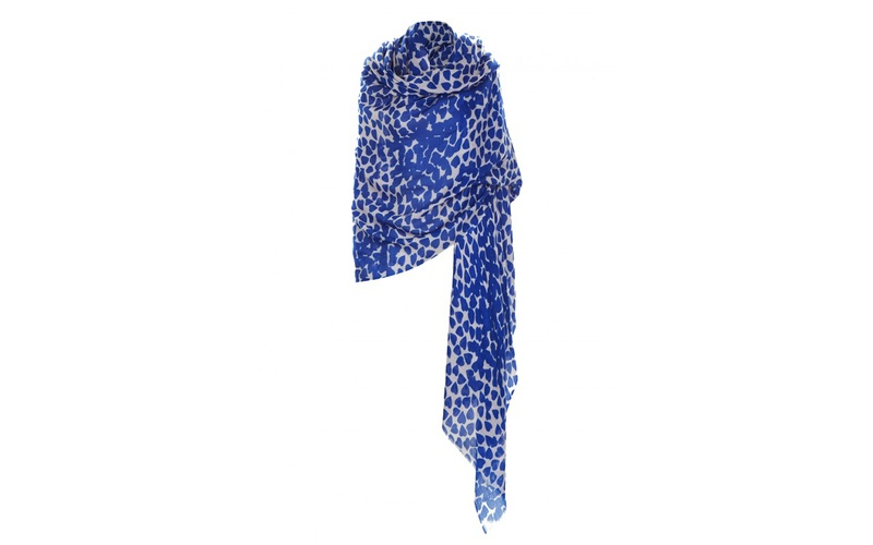 Classic Blue Heart Wool Shawl