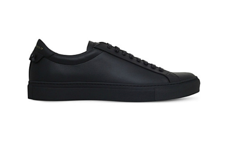 Knot leather trainers black