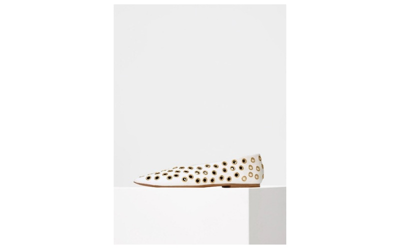 SOFT V NECK EYELET FLAT IN OPTIC WHITE NAPPA
