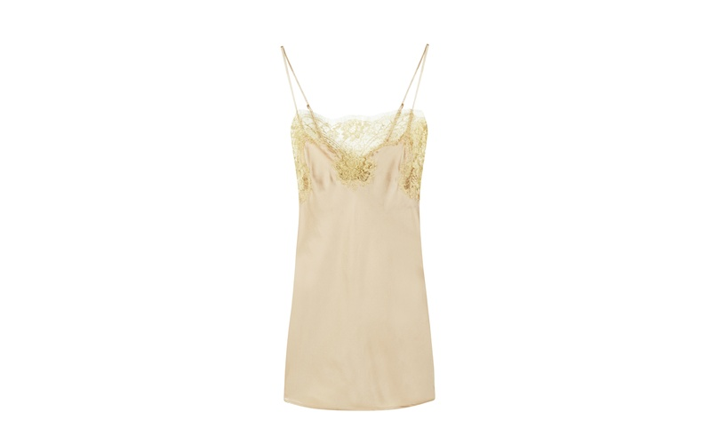 GINA ALMOND SILK AND GOLD LACE CAMISOLE