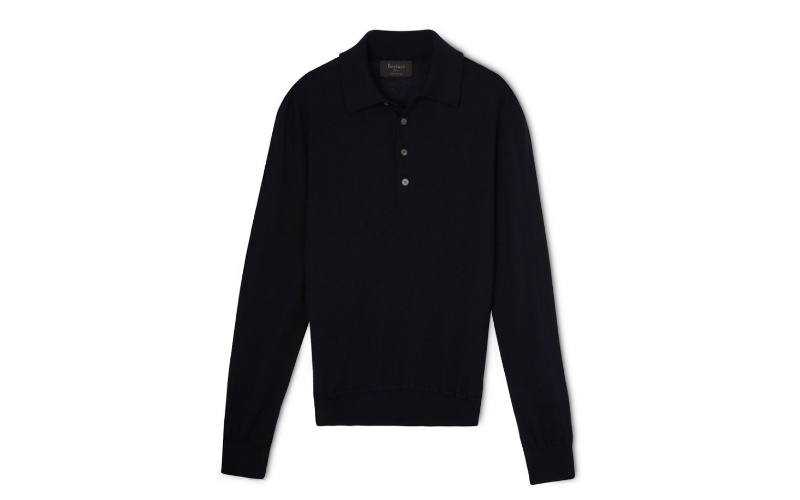 Poloneck sweater with leather trim