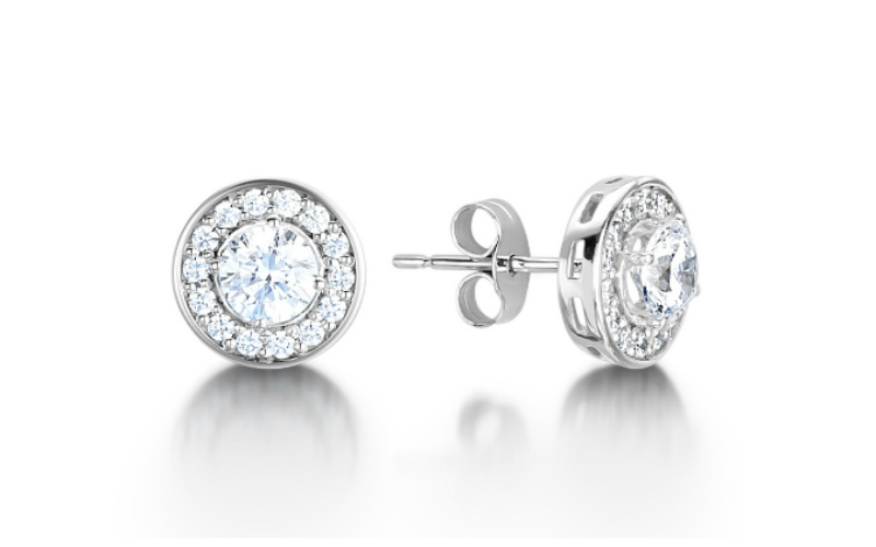 Arctic Circle Round Cluster Halo Diamond Studs