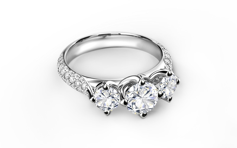 FOREVERMARK SETTING THREE DIAMONDS PAVÉ RING