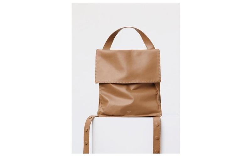 BACKPACK CROISSANT IN LIGHT TAN SOFT LAMBSKIN