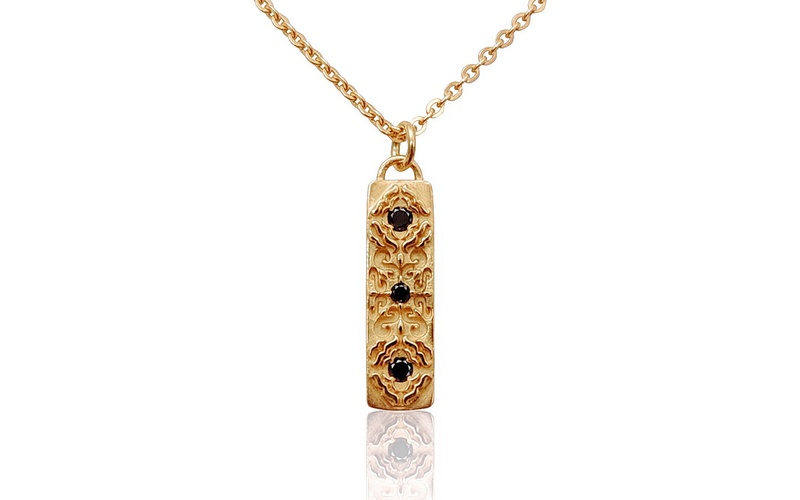 'Little Luca' 18 Carat Rose Gold and Black Diamond Necklace