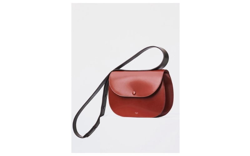 SMALL ROUND BOX SHOULDER BAG IN BURNT RED BOX CALFSKIN