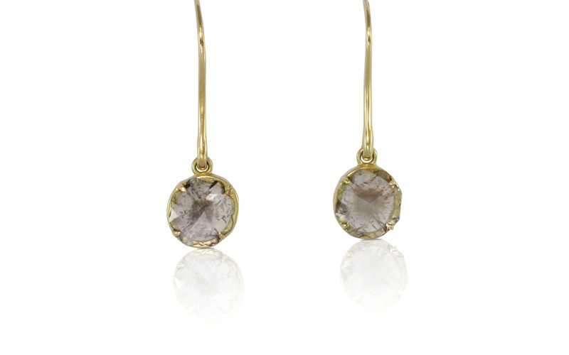 Flower Diamond Slice Gold Earrings
