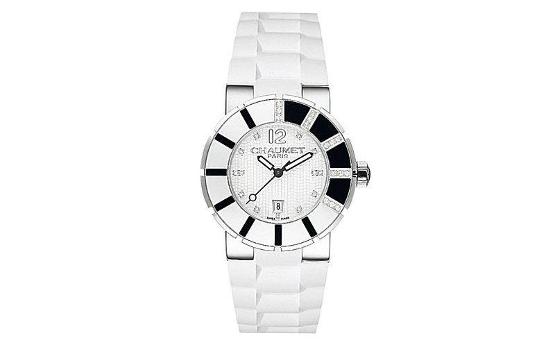 Class One polished steel and diamond watch