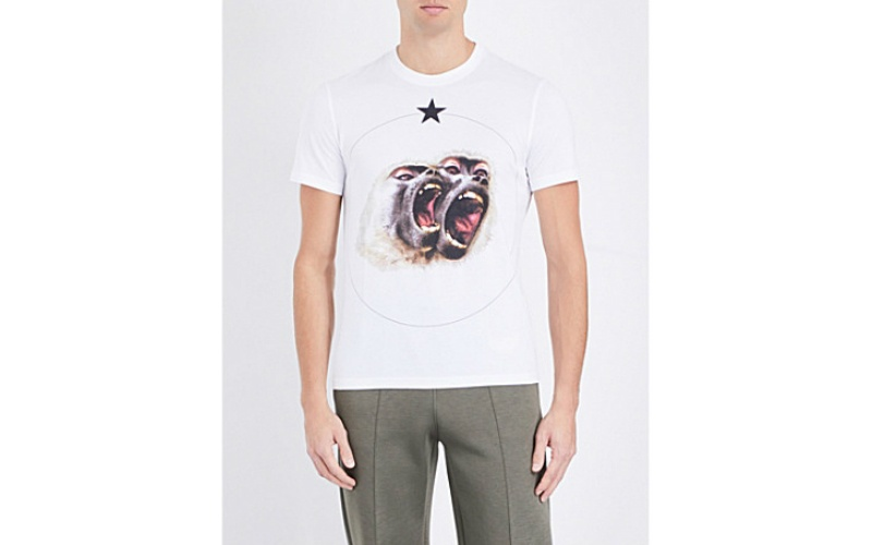 Twin Monkey cotton-jersey T-shirt