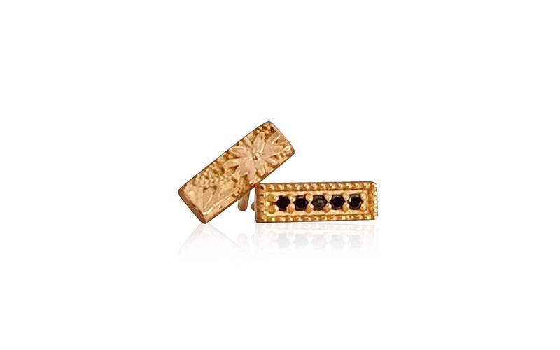 'Little Luca' 18 Carat Rose Gold and Black Diamond Studs
