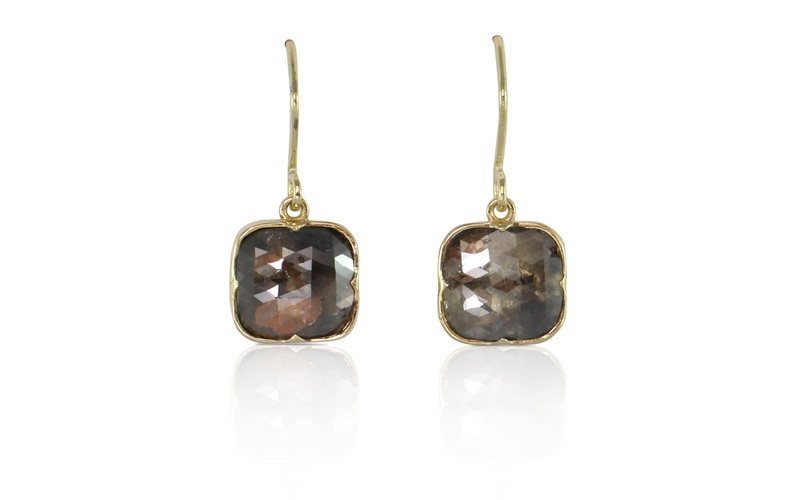 ROSE CUT DIAMOND GOLD EARRINGS