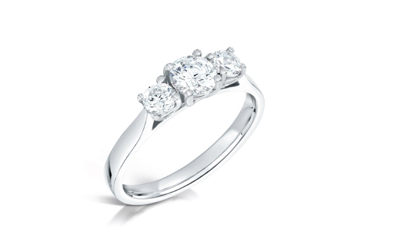 Graduated Three stone Diamond Platinum Engagement Ring