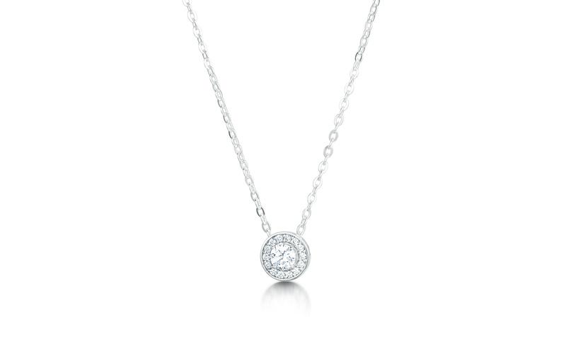 Arctic Circle Round Cluster Halo Diamond Pendant