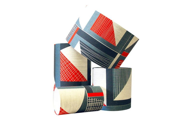 Red and Blue Abstract Lampshade