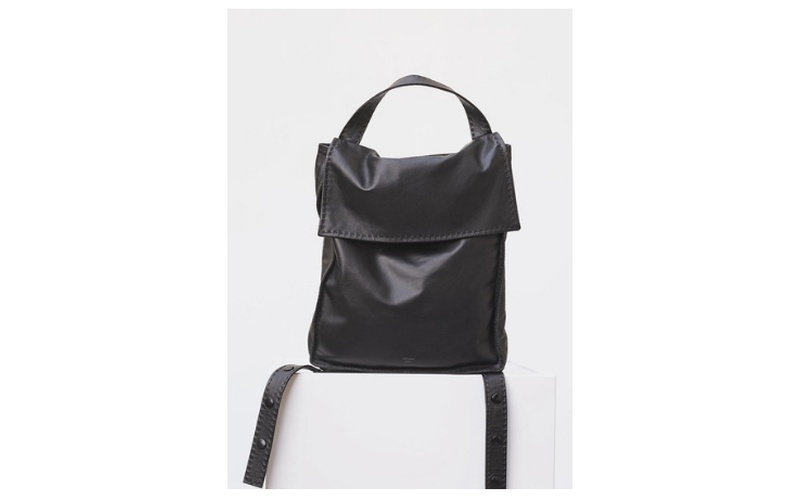 BACKPACK CROISSANT IN BLACK SOFT LAMBSKIN