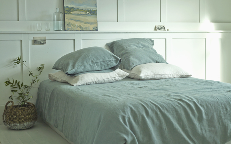 Aloe Green Washed Linen Duvet Cover
