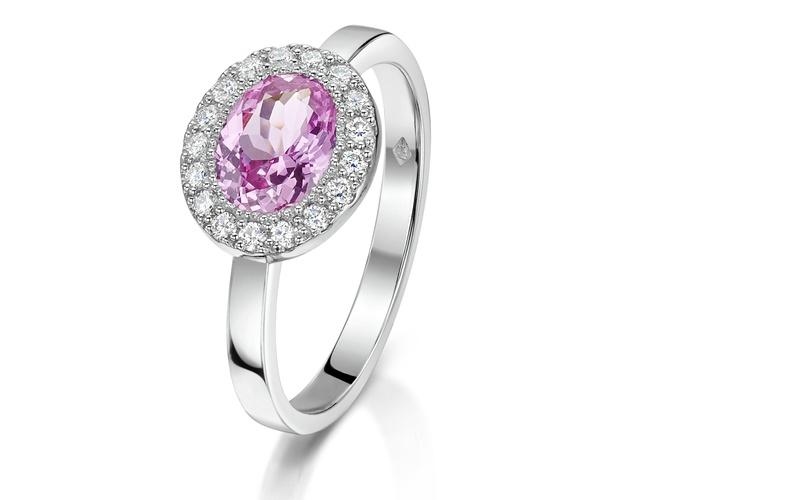 PINK SAPPHIRE, DIAMOND & PLATINUM RING