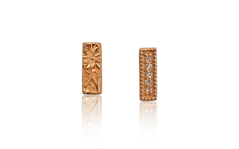 'Little Luca' 18 Carat Rose Gold and Diamond Bar Studs