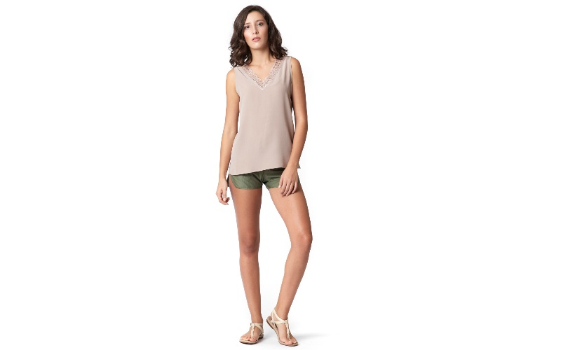 Cotton Tailored Shorts in Olive Green