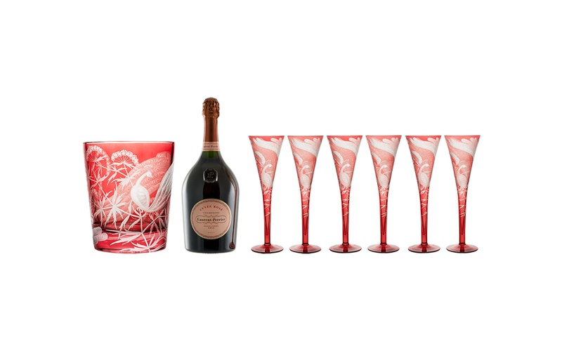 Peacock and Crystal Magnum Champagne Set - Rose