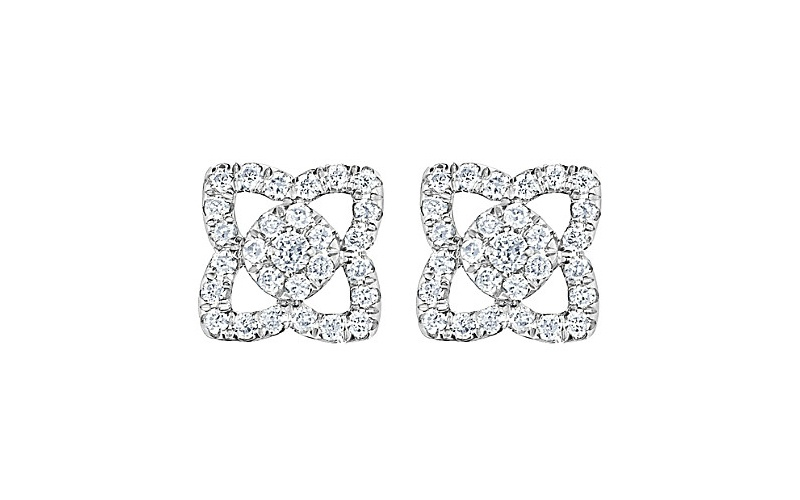 ENCHANTED LOTUS 18 CT WHITE GOLD AND DIAMOND EARRINGS