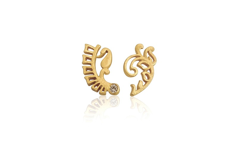 'Little Luca' 18 Carat Yellow Gold an Diamond Fern Earrings