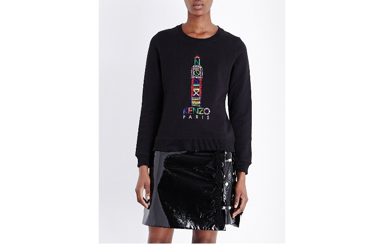 London-embroidered cotton-jersey sweatshirt black