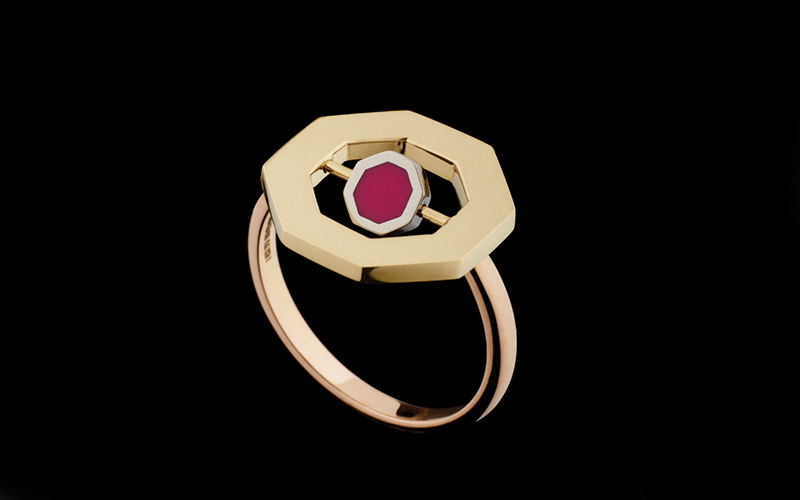 FLIP OCTO RING WITH ENAMEL - 18ct Fairtrade & Fairmined Ecological yellow & white gold with precious stones