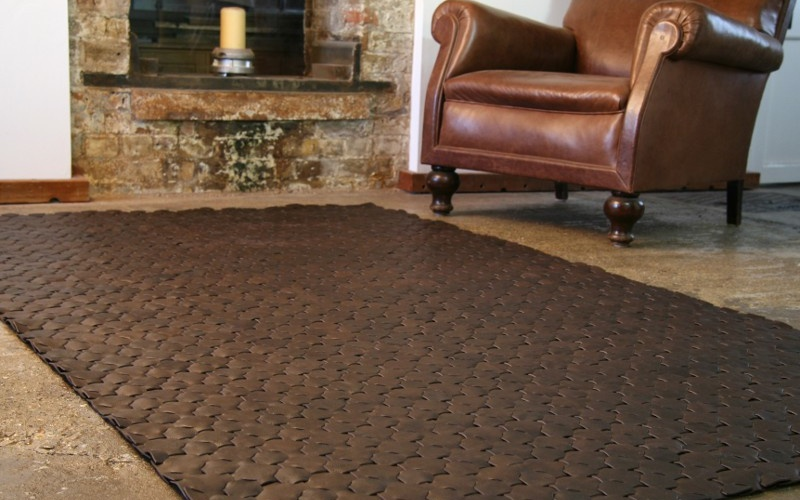 Dark Brown Leather Rug