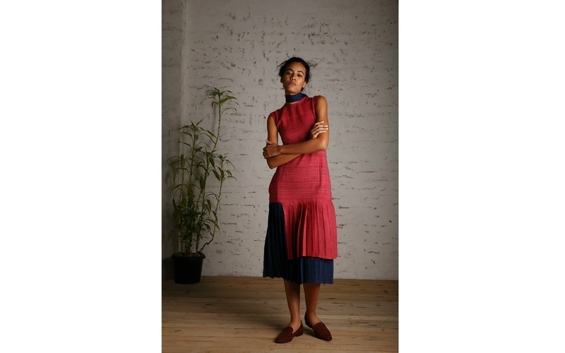 Wool and peace silk pleated dress