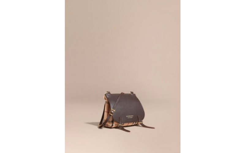 THE BABY BRIDLE BAG IN LEATHER AND HAYMARKET CHECK