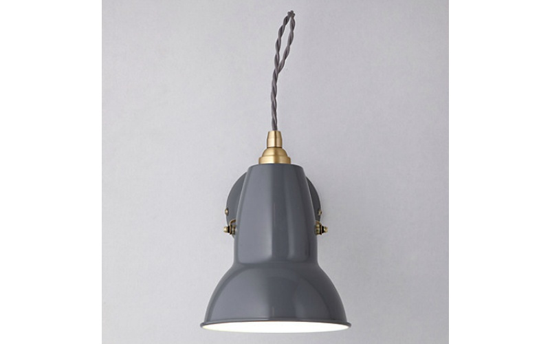 1227 BRASS WALL LIGHT IN ELEPHANT GREY