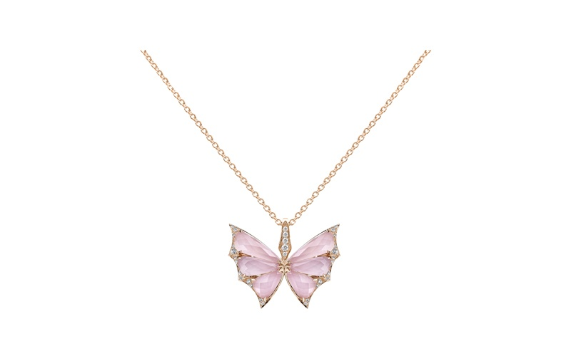 Fly By Night Crystal Haze Small Pendant in Pink Opal