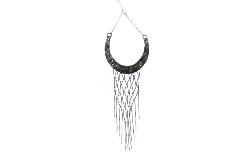 Leather and woven bead bib necklace