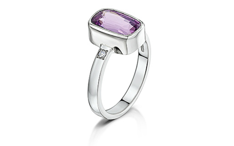 PINK SPINEL AND DIAMOND 18 CARAT WHITE GOLD RING